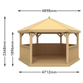 Furnished Cedar Tiled Roof Hexagonal 4.7m Gazebo