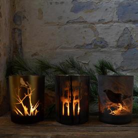 Set of 3 Autumn Glass Votives