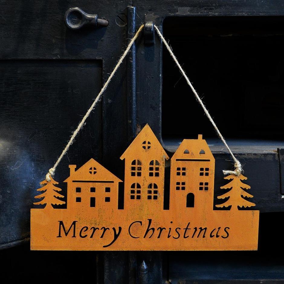 Hanging Metal Merry Christmas Decoration