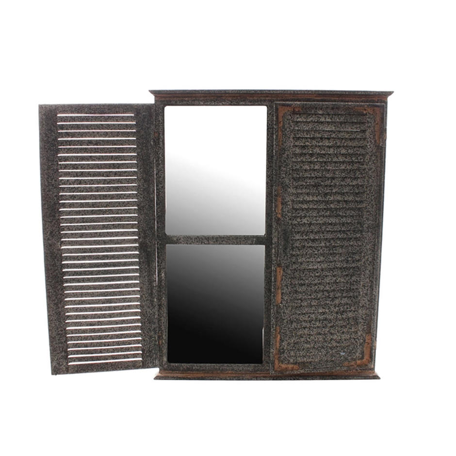 Outdoor Aged Mirror with Shutters