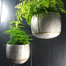 Zinc Oval Wall Planters - Set of 2