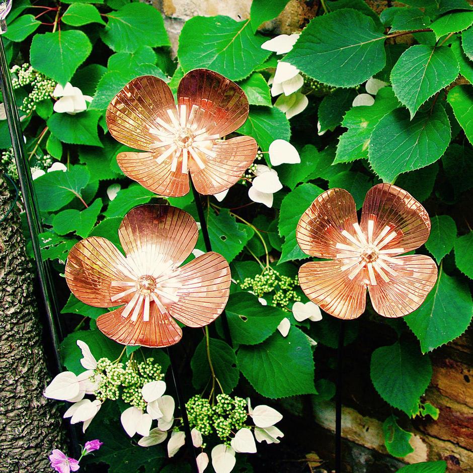 Copper Poppy Flower Stakes