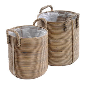 Rattan Planters with Rope Handles