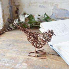 Single Copper Wire Bird Sculpture