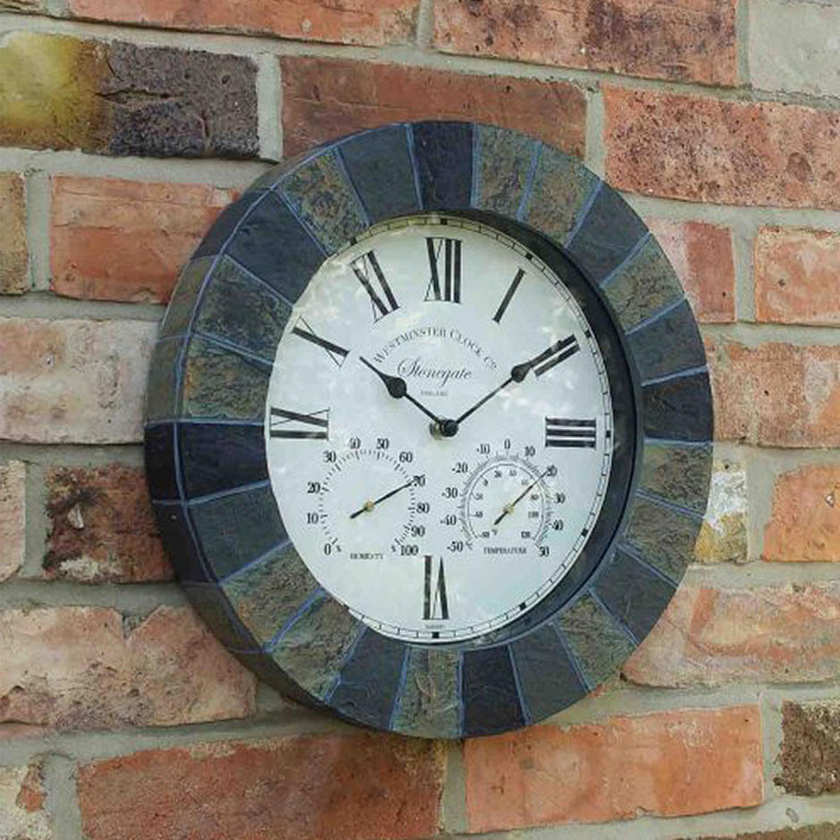 Slate Effect Outdoor Wall Clock and Thermometer