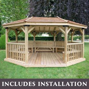 Furnished Oval Gazebos with Cedar Roof