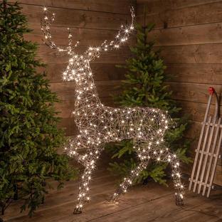 Outdoor Wicker LED Standing Reindeer