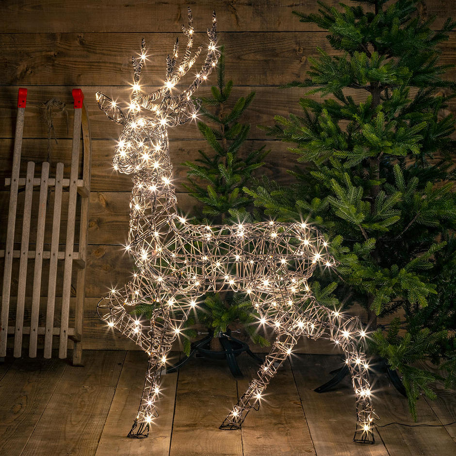 Outdoor Wicker LED Standing Stag