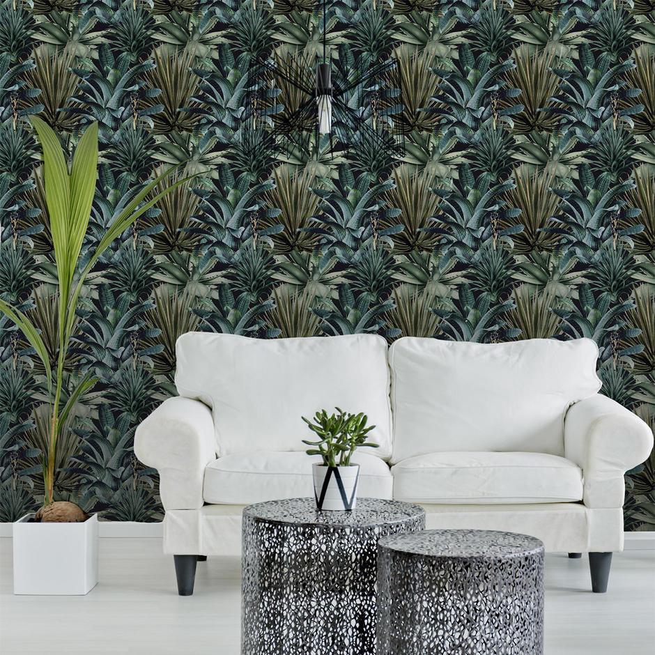 Lush Succulents Feature Wallcovering