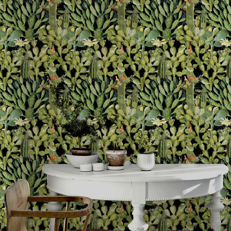 Opuntia Anthracite Feature Wallcovering