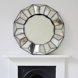 Sunburst Antiqued Round Mirror
