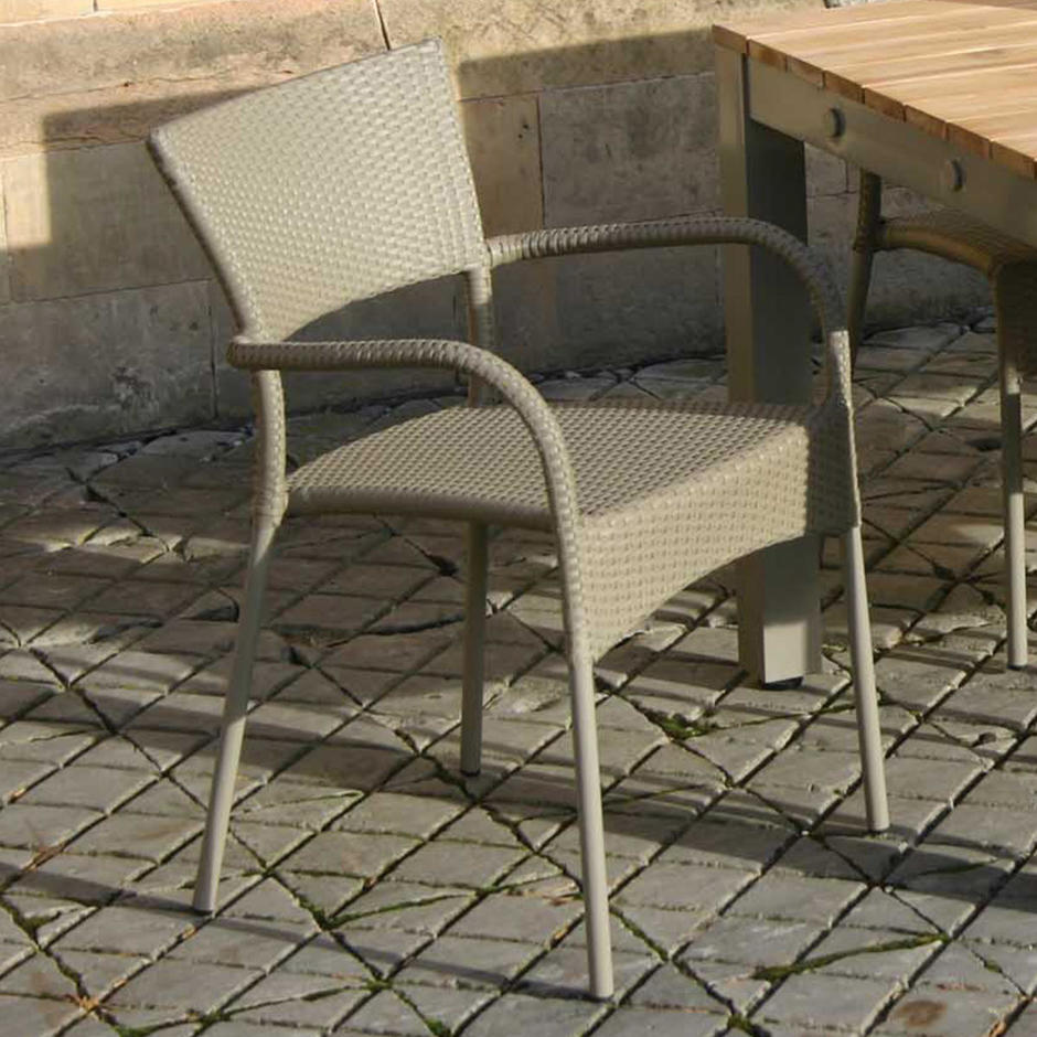 Rollo Stacking Outdoor Dining Chairs with Arms