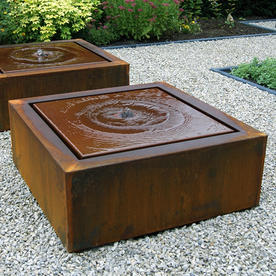 Corten Square Water Feature with Fountain
