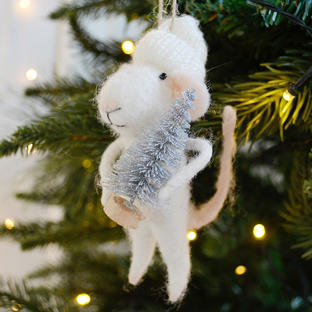 Mouse with Silver Tree Hanging Decoration