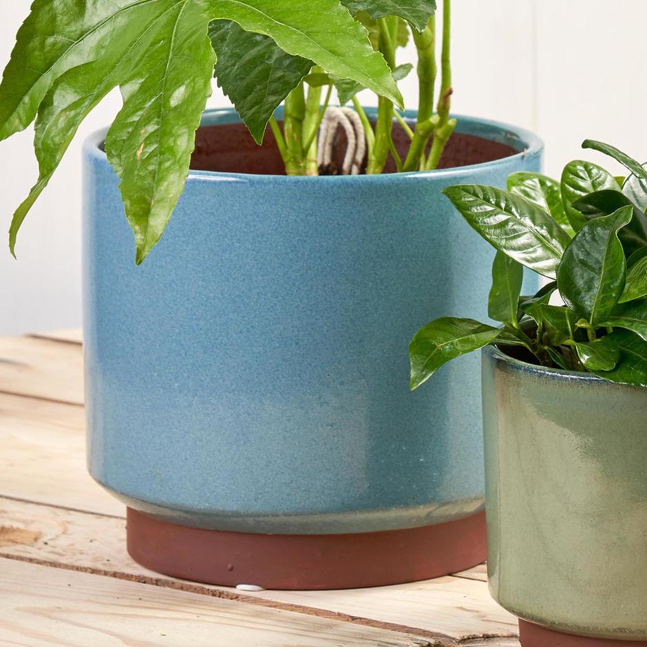 Speckled Glaze Blue Indoor Planter