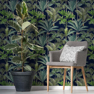 Palmeras Anthracite Feature Wallcovering