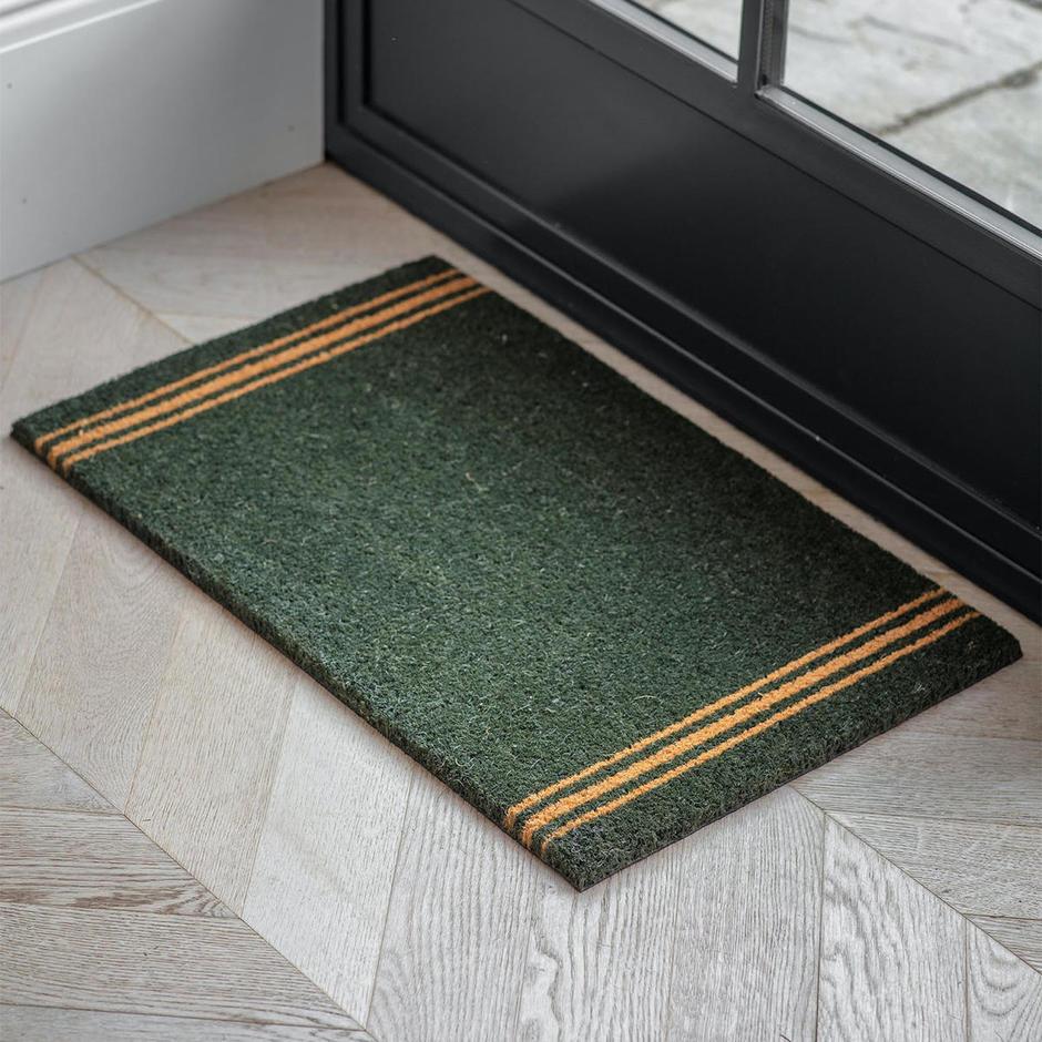 Forest Green Stripe Doormat