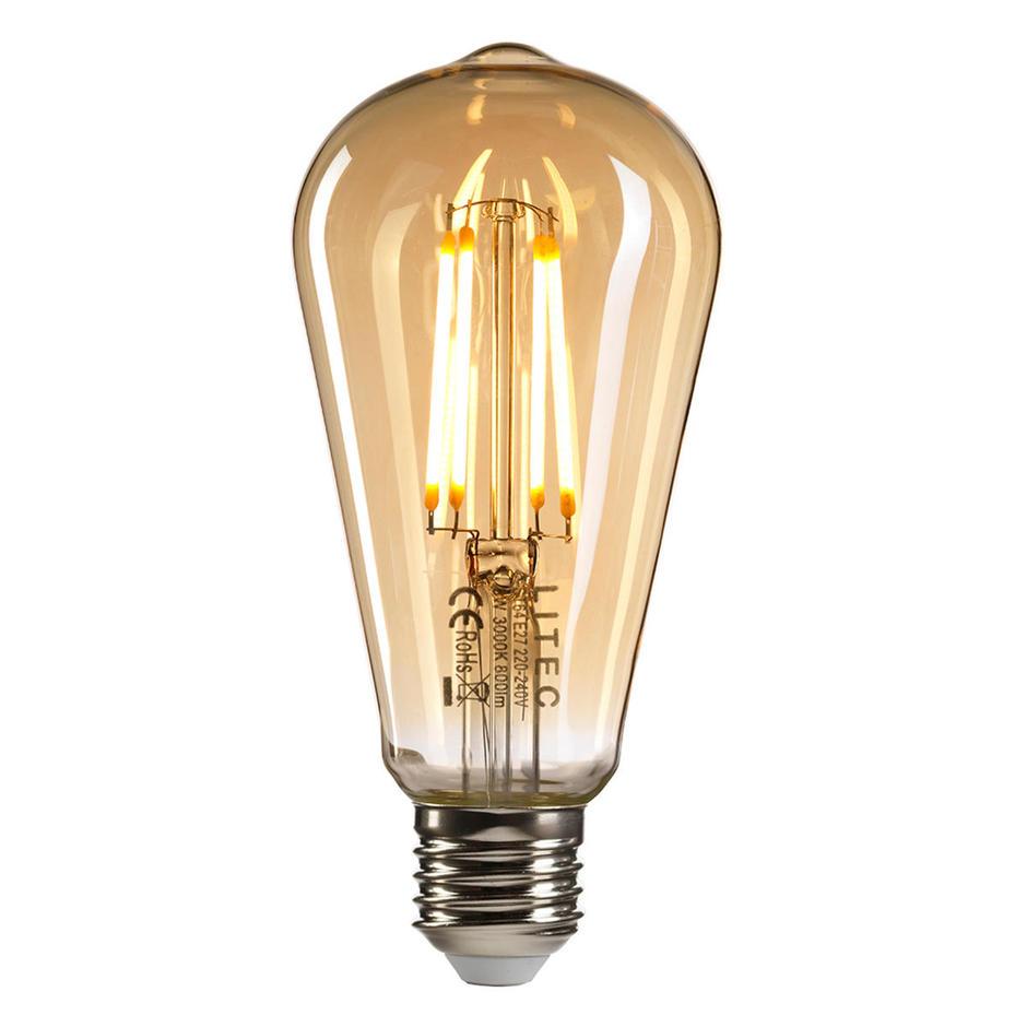 8W Edison LED Amber Tint Filament Lightbulb