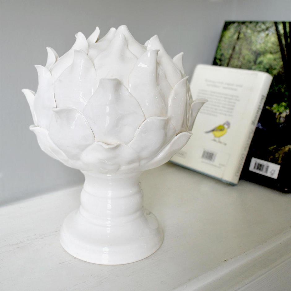 White Ceramic Artichoke Flower on Base