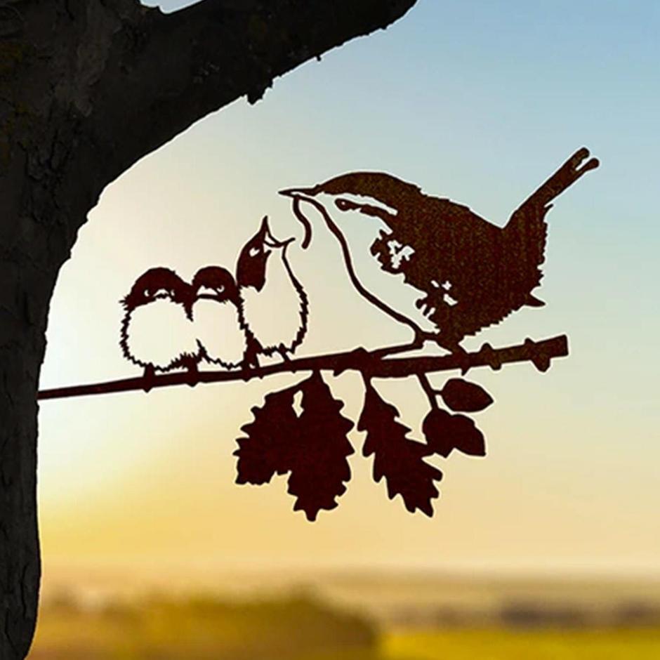 Metalbird Wren & Chicks Silhouette