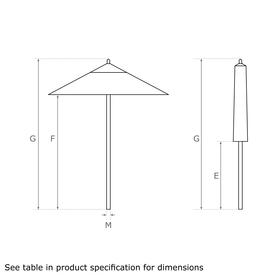 Classic Wood Framed 2.8m Square Parasols