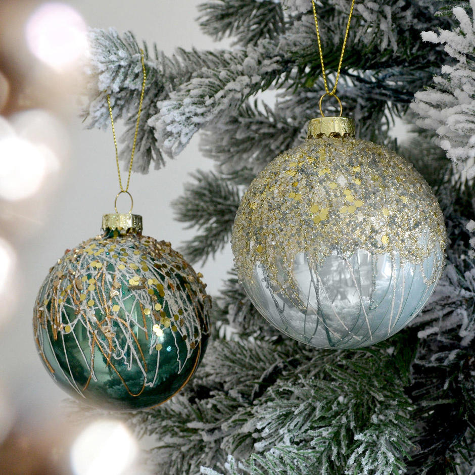 Luxe Ice Green and Winter White Splatter Baubles