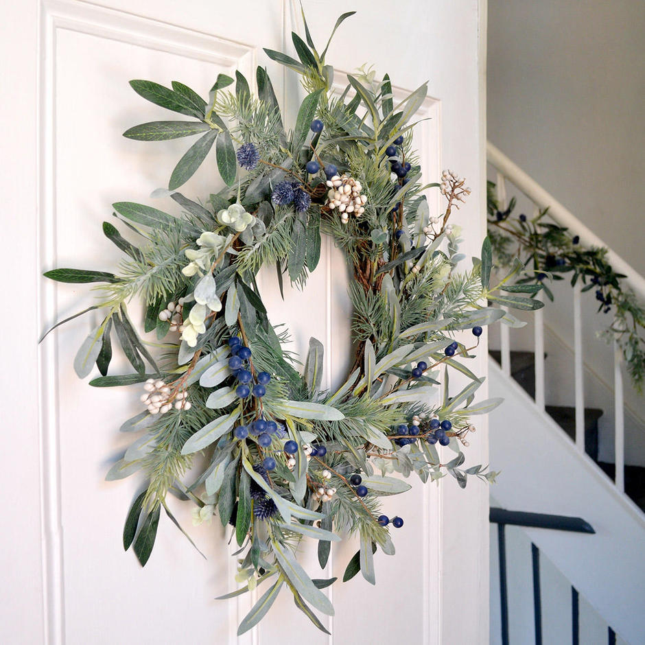 Blueberry and Olive Leaf Wreath