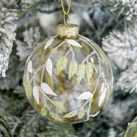 Festive Foliage Glass Painted Baubles