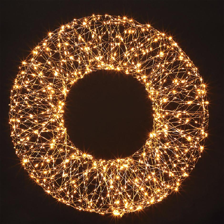Oversized Copper Outdoor Illuminated LED Wreath
