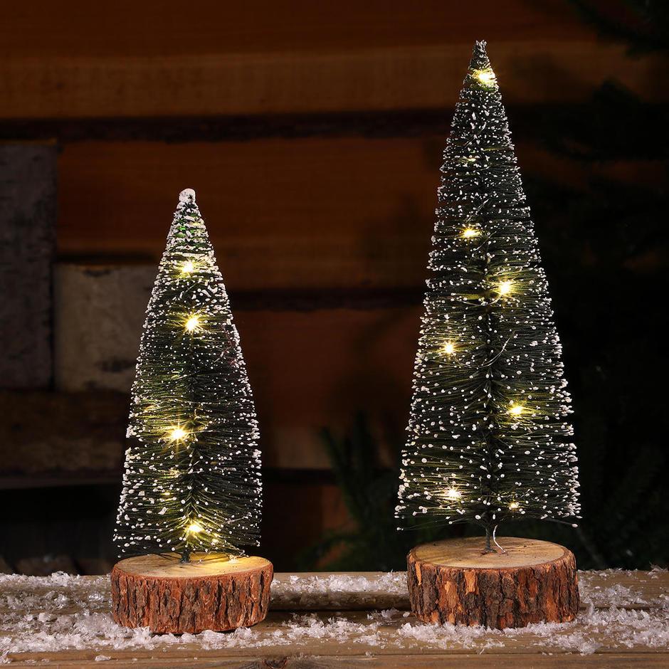 Micro Light Table Top Snowy Bottle Brush Tree