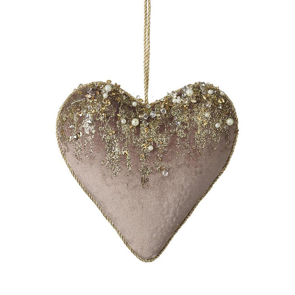 Blush Velvet Glitter Hanging Heart
