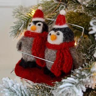 Ski Pals Penguins Felt Decoration