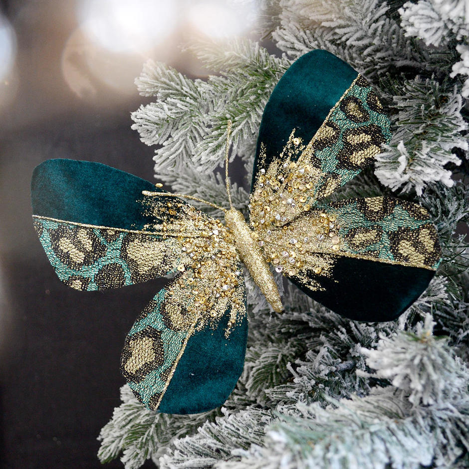 Art Deco Leopard Print Velvet Butterfly Clip Decoration