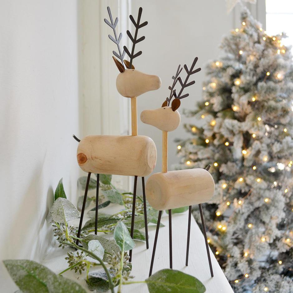 Scandi Wooden Reindeer Decoration