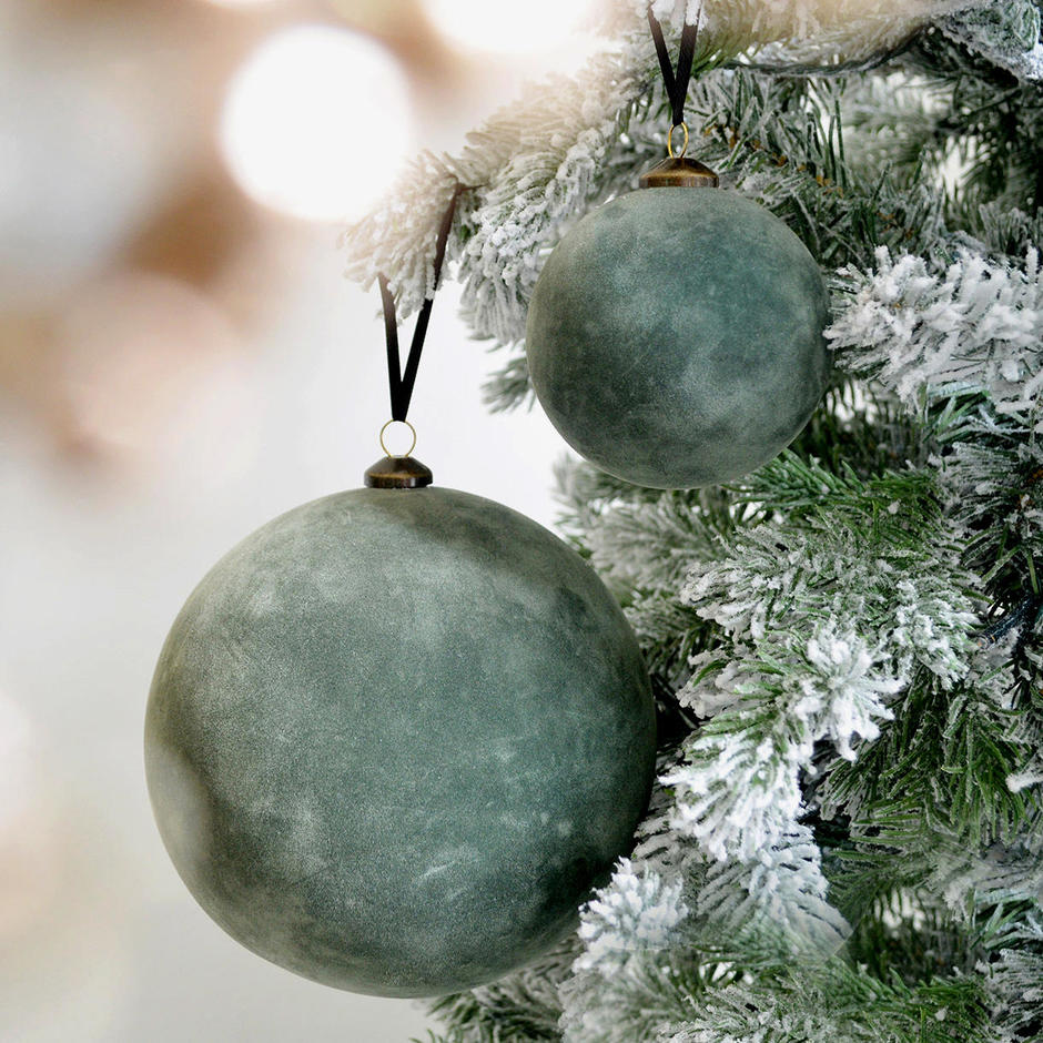 Christmas Green Flocked Hanging Baubles