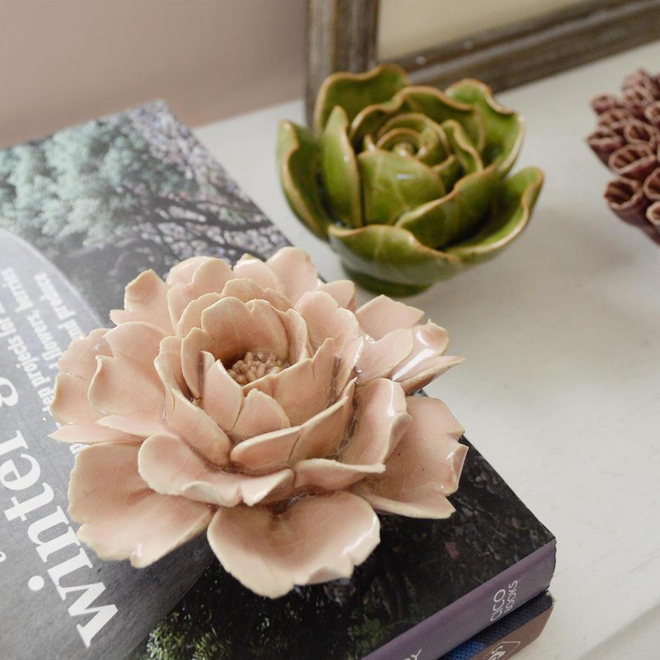 Ceramic Coral Rose Flowers
