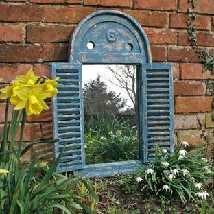 Rustic Blue Louvred Mirror