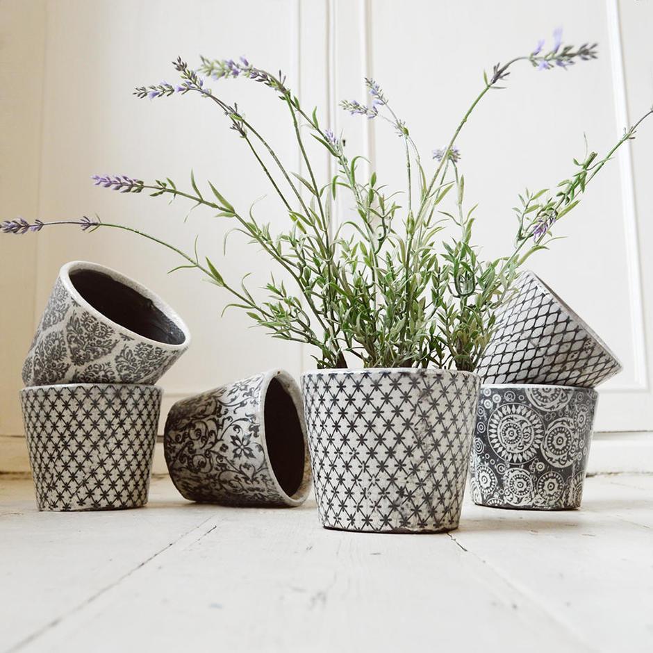 Vintage Pattened Plant Pots