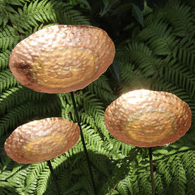 Beaten Copper Dish Sculptures Set of Three