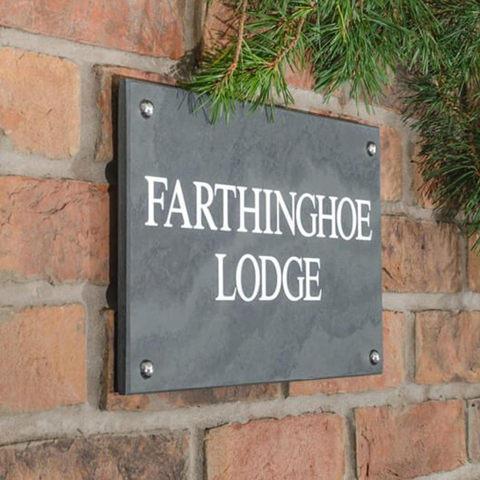 Smooth Slate Two Line House Signs