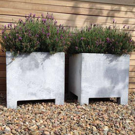 Square Galvanised Steel Planter with Feet