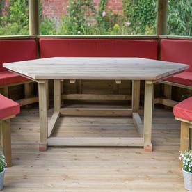 Furnished Cedar Tiled Roof Hexagonal 3.6m Gazebo