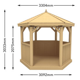 Cedar Tiled Roof Hexagonal 3m Gazebo
