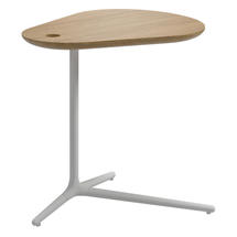 Trident White Side Table - Natural Teak Top