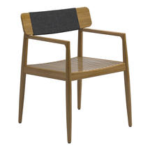 Archi Dining Chair with Arms - Natural Teak in Raven