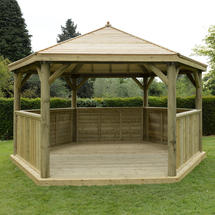 Hexagonal 4.7m Gazebo with Traditional Timber Roof