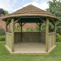 Hexagonal 4.0m Gazebo with Country Thatch Roof - Green Roof Lining