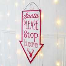 Santa Stop Signs - White