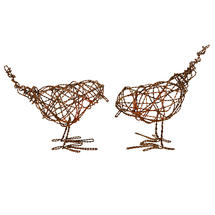 Pair of Birds in Copper Twisted Wire
