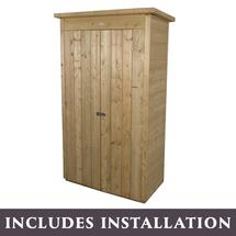 Shiplap Pent Tall Garden Store with Assembly - Pressure Treated